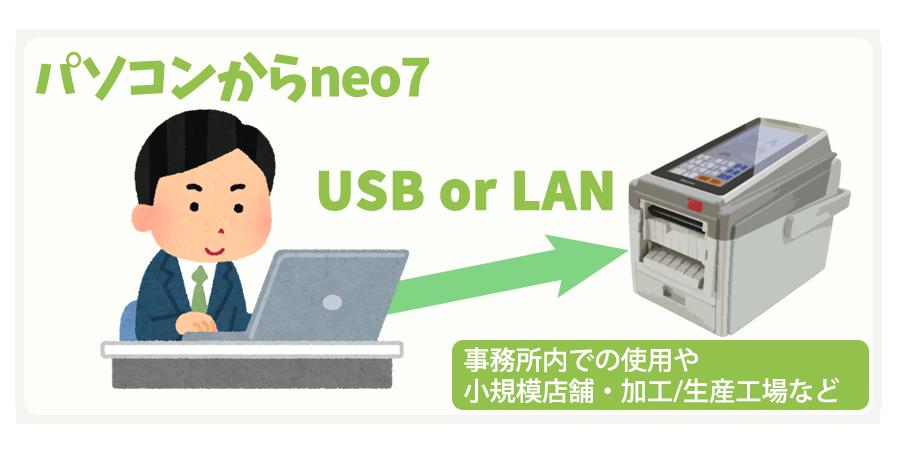 パソコンからneo7 USBorLAN 事務所内での使用や小規模店舗・加工/生産工場など